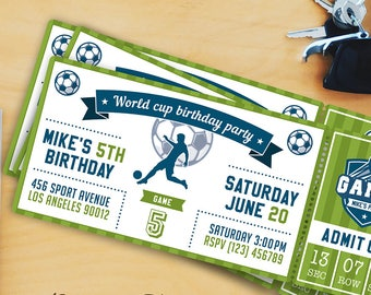 Soccer-Football Birthday Party Invitation Templates