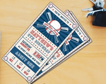 Baseball Birthday Party Vertical Invitation Templates