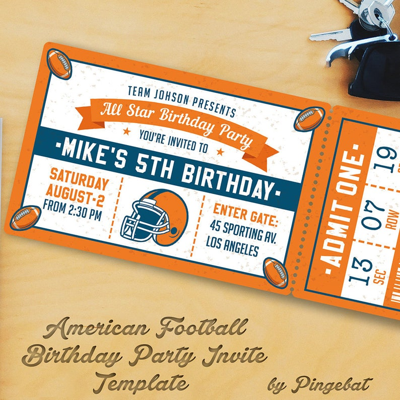 Football Birthday Party Invitation Templates