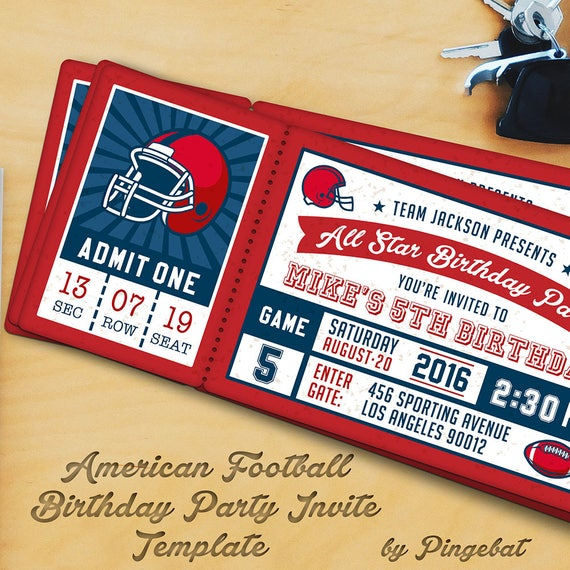 Football Birthday Party Invitation Templates 3