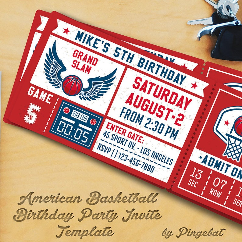 Basketball Birthday Party Invitation Templates 3
