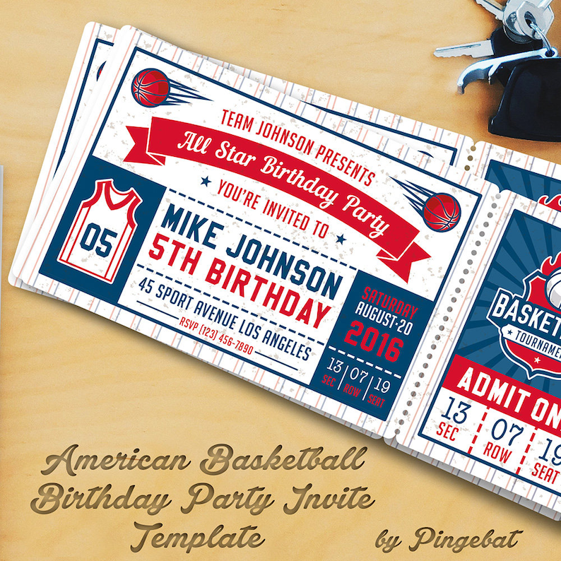 Basketball Birthday Party Invitation Templates 2