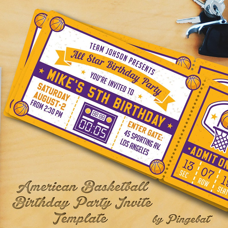 Basketball Birthday Party Invitation Templates