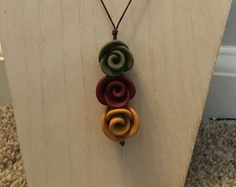 Stacked Roses Necklace