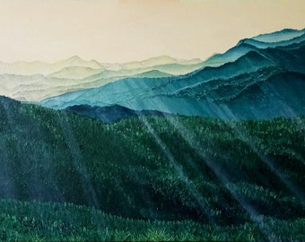 Spotaso Mountain Chain Oil Painting, 100x60 cm