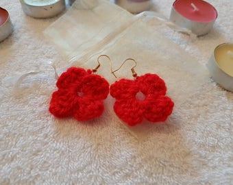 Crocheted: Red Earrings