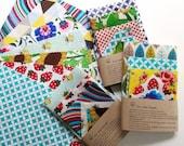 Set of 5 -100 Natural Reusable Beeswax Food Wrap (Choose your fabric)