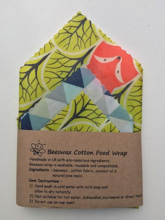 100/% Natural Reusable Beeswax Food Wrap-Set of 3 1 Medium /& 2 Small