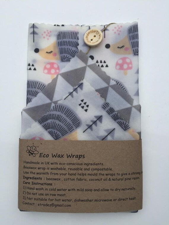 100/% Natural Reusable Beeswax Food Wrap-Set of 4 2 Medium /& 2 Small