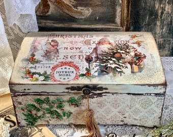 Wooden Jewellery Box French Floral Chic Sweetpea Tea Memory Keepsake Victorian Vintage Gift Country Garden Seed Caddy