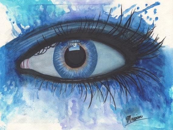 Blue And Purple Watercolor Abstract Eye Human Eye Watercolor Painting Eye Painting Eye Art Abstract Horizontal Wall Art Watercolor