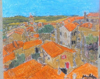 art original oil pastel and drawing, Portugal, village