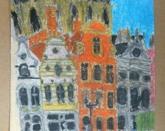 art, original oil pastel and drawing - Belgium, city