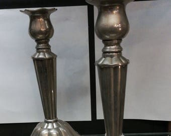 Pair Of Fabulous French Art Deco Pewter Candlesticks With Skirt Base