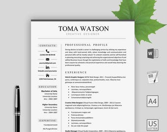 Resume Template Instant download- CV template - Creative Resume for Word - Cover letter, Reference Page and more