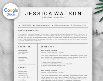 Google Docs Resume Template CV Instant Download