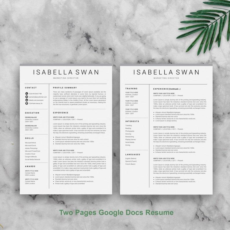 Google Docs CV Google Docs Resume Template Google CV Instant download