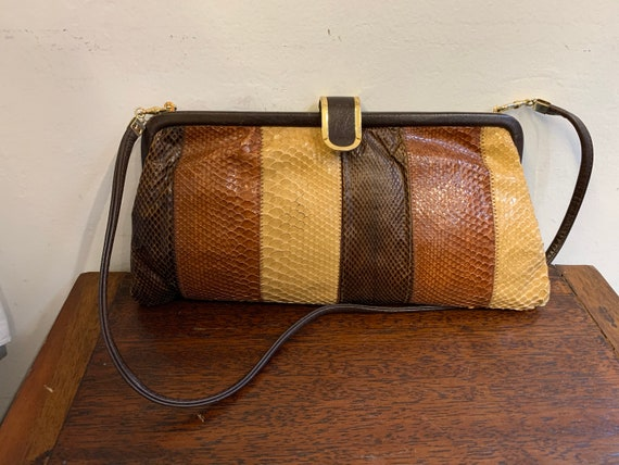 Jane Shilton 60s Brown Leather And Skin Shoulder Bag Mid Century
