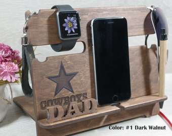Awesome dad gift Wood Dock station for men, Dallas cowboys gift, Wooden Phone Stand, football gift, Cowboys decor, nfl gift, graduation gift