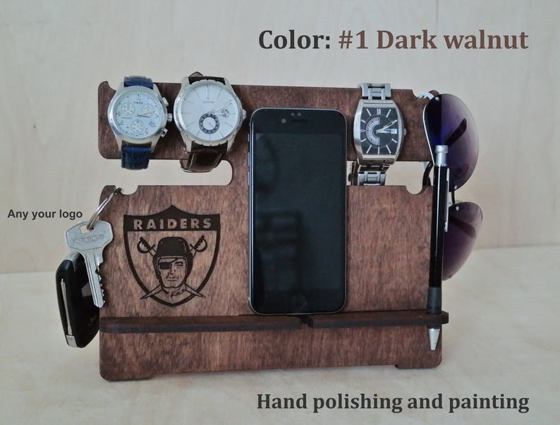Custom Fathers Day Gift Oakland Raiders Wood Docking Station Gift For Husband Gift For Men Personalized Gift For Him Mens Gift For Dad