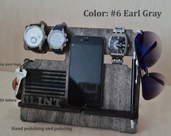 Charging Station, Docking Station, Phone Stand, Phone Holder, thin blue line, american flag, Watch stand, gift for dad, gifts for him, mens