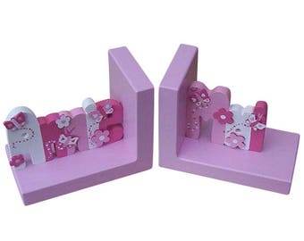 Painted Name Bookends For Girls