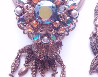 Vinatage Filigree and Pearl, Aurora Borealis  necklace