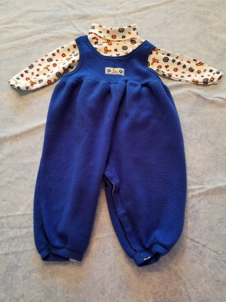 dce597496 Carter s blue fleece overalls with matching turtleneck