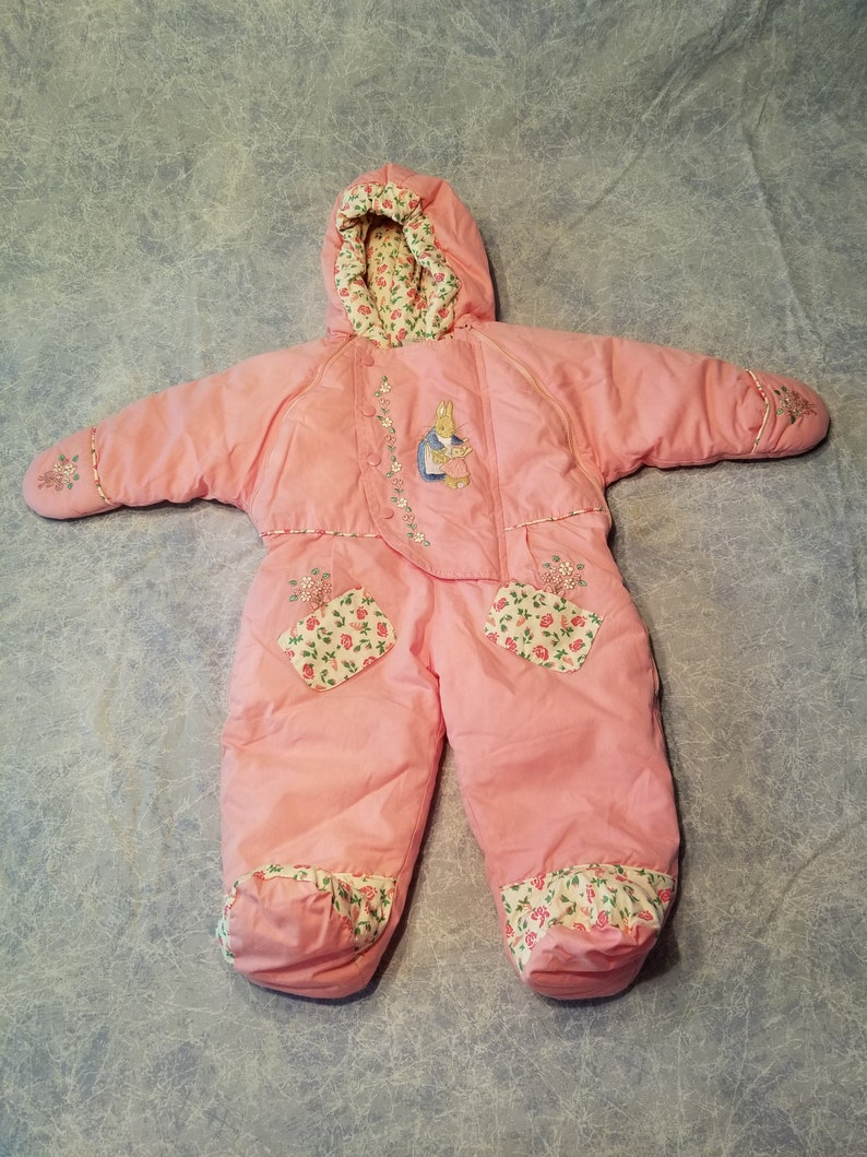 c0317a34b Pink Beatrix Potter baby snowsuit by Quiltex | Etsy