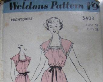 1950s nightdress Pattern Weldon's  5403  Bust 34