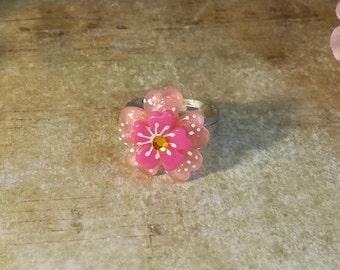 Fantasy flower rhinestone ring