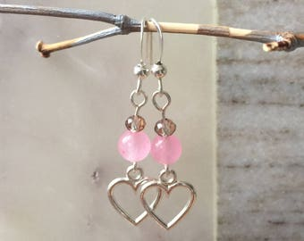 Earrings handmade, heart earrings, beaded earrings, gifts for her, crystal, pink agate, free US shipping