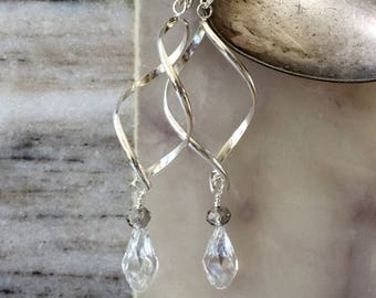 Unique earrings, silver earrings, dangle earrings, bridal earrings, elegant earrings, crystal earrings, gifts for her, free US shipping