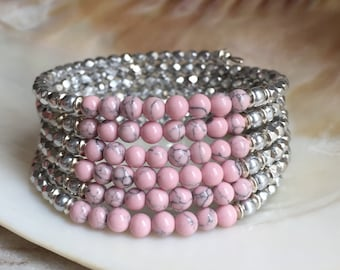 Memory wire bracelet, beaded bracelet, unique bracelet, wrap bracelet, silver bracelet, pink bracelet, gifts for here