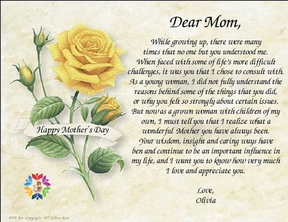 Mothers Day Poempersonalized Poemspoem For Motherpoems For Momyellow Rosespoem On Artmothers Daypersonalized Poempersonalized Gift