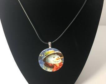 Snowman pendant necklace, snowman design necklace, snowman necklace, snowman pendant, cord necklace, washer necklace, winter necklace