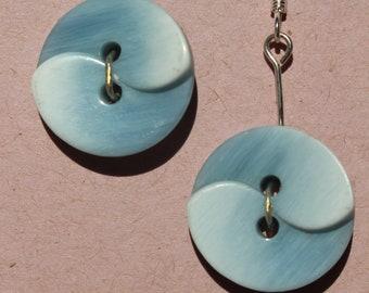 Blue Swirl Button Dangle Earrings
