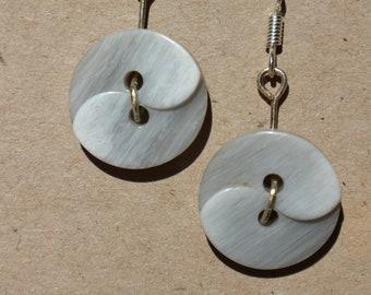 Grey Swirl Button Dangle Earrings