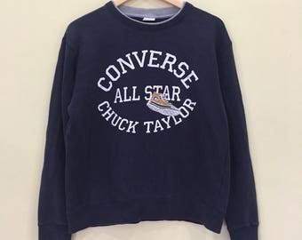 b36224702be CONVERSE ALL STAR Sweatshirt With Big Embroidery Spellout Of Chuck Taylor  And Shoe Picture Very Rare Design