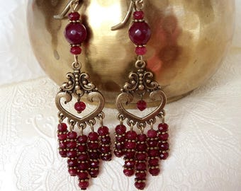 Genuine garnet gemstone earrings, chandelier garnet earrings, bronze garnet earrings, handmade garnet earrings, garnet earrings