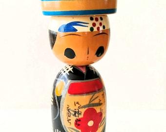 "kokeshi doll vintage souvenir of the island ""Izu Ooshima"""