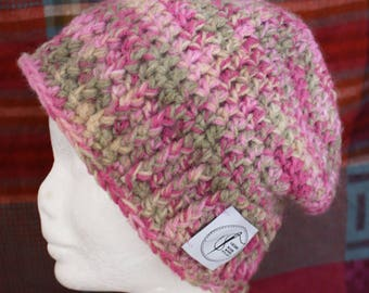 Pink And Green Beanie. Handmade crochet beanie made with soft wool. Very warm.