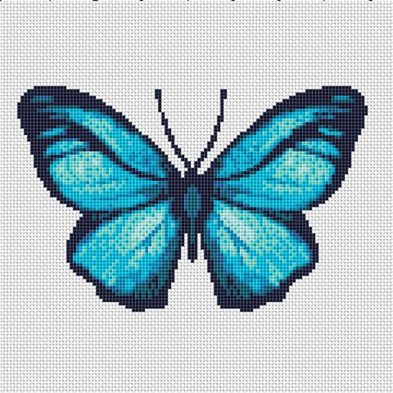 Turquoise Green Black Butterfly Counted Cross Stitch Chart Pattern