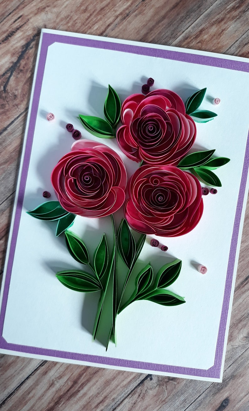 quilling greeting card with pink paper roses and green