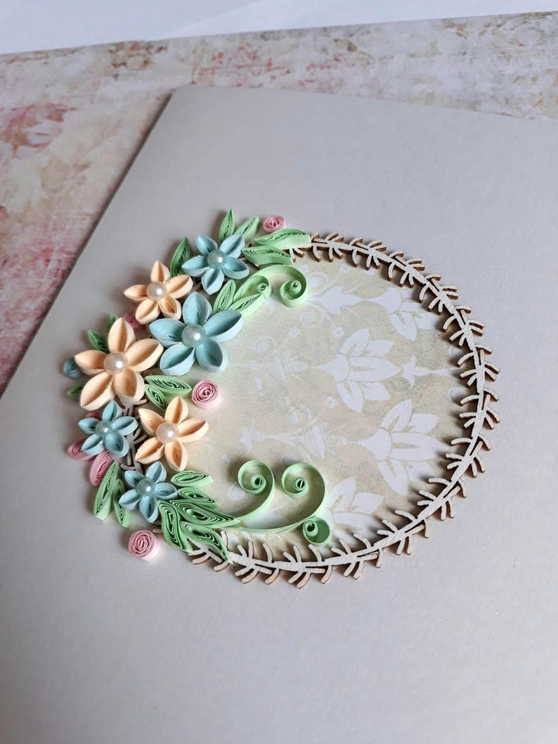 quilling wedding card with blue and beige flowers birthday