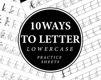 10 Ways to Letter Lowercase Hand Lettering Practice Sheets - Brush Lettering Worksheet-Calligraphy-Alphabet Guide-Uppercase-