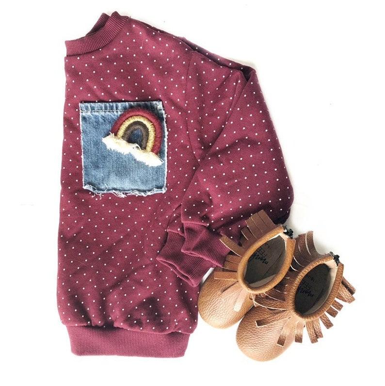 organic cotton sweatshirt Burgundy Polka Dot Upcycled Pocket Crew Baby toddler kids upcycled denim