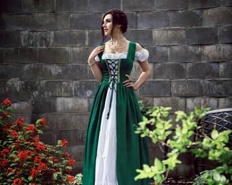 Irish Boho Peasant Renaissance Costume Dress and Chemise Set