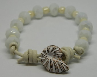 White on White, rust/white closure, faceted beads, leather cord