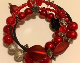 Red, white, black wrap bracelet